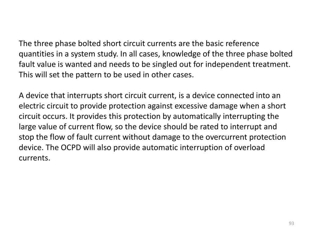 Ch 67 Faults And Fault Calculations Ppt Download Overcurrent Short Circuit Relay Over Current Protection The Three Phase Bolted Currents Are Basic Reference Quantities In A System Study