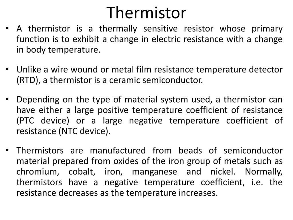 Resistive Temperature Transducers Ppt Video Online Download Resistance Thermometer Wiring Diagram 7 Thermistor