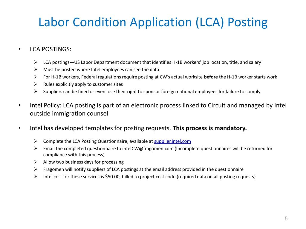 Intel Contingent Worker Immigration Guidelines, Compliance
