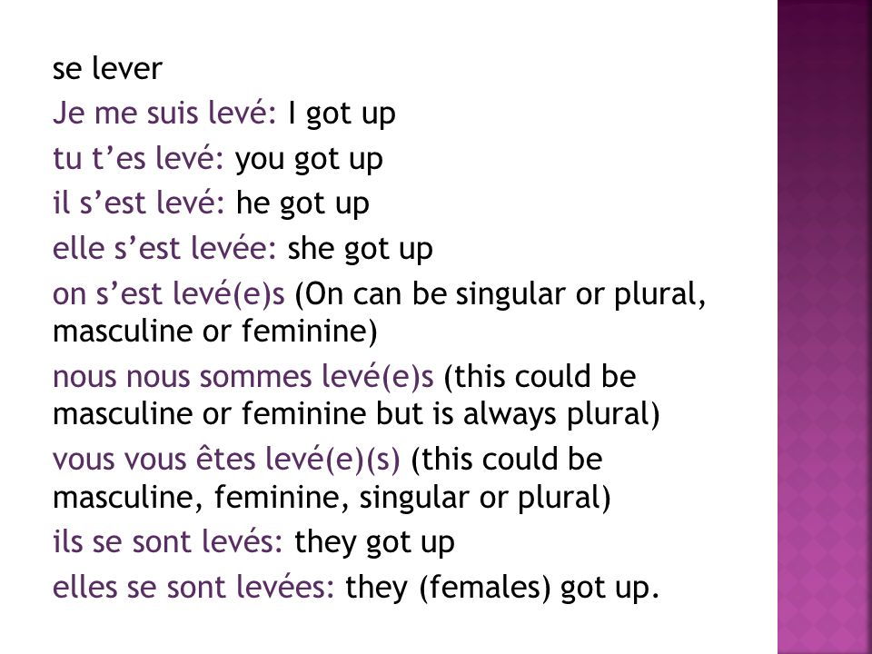 se lever Je me suis levé: I got up tu t'es levé: you got up il s'est levé: he got up elle s'est levée: she got up on s'est levé(e)s (On can be singular or plural, masculine or feminine) nous nous sommes levé(e)s (this could be masculine or feminine but is always plural) vous vous êtes levé(e)(s) (this could be masculine, feminine, singular or plural) ils se sont levés: they got up elles se sont levées: they (females) got up.