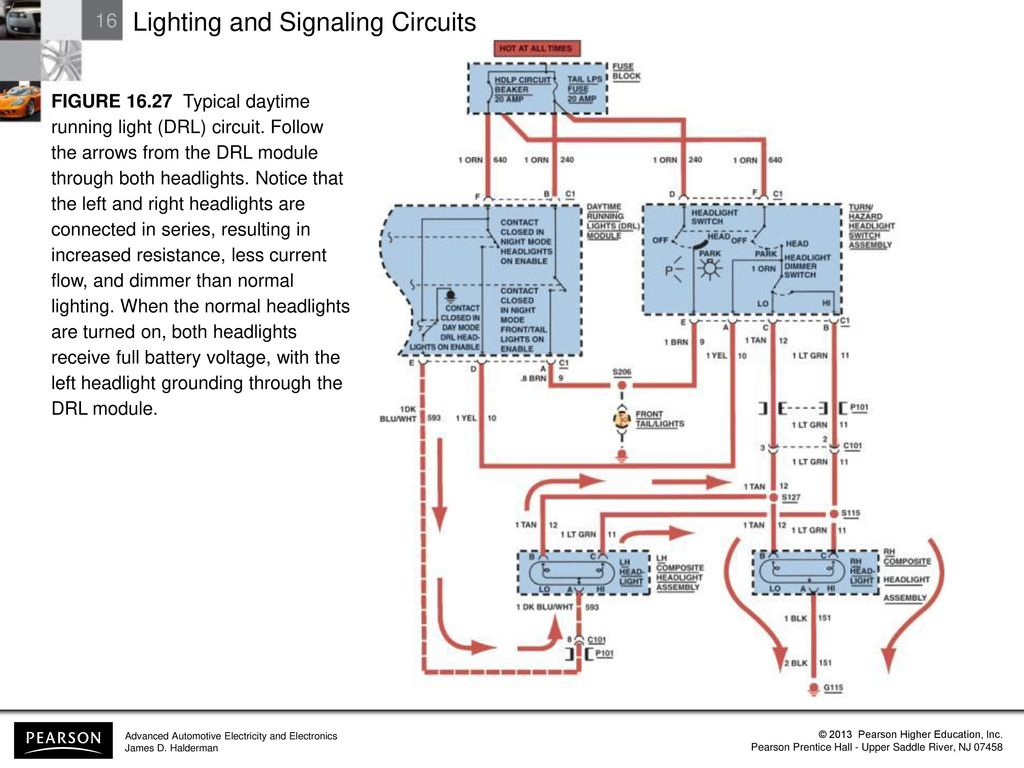 Headlights On Daytime Running Lights Drl Wiring Diagram Lighting And Signaling Circuits Ppt Download Figure Typical Light Circuit