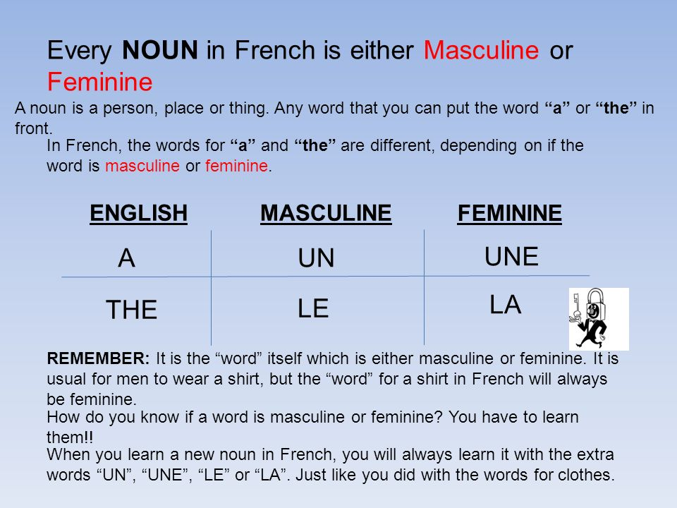 Every NOUN in French is either Masculine or Feminine