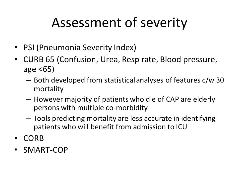 Assessment of severity