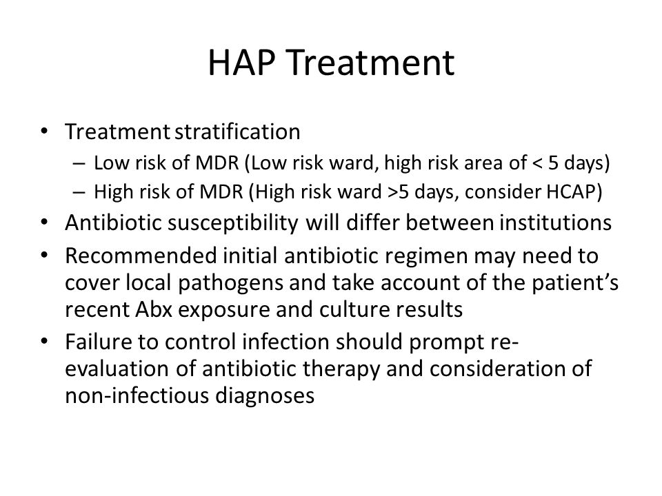 HAP Treatment Treatment stratification