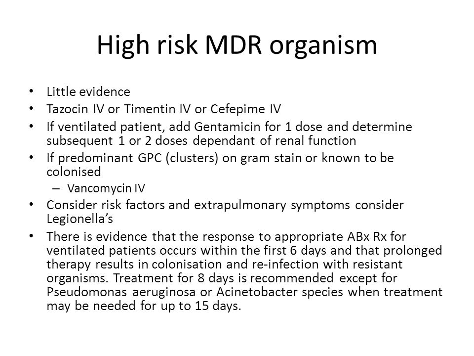 High risk MDR organism Little evidence