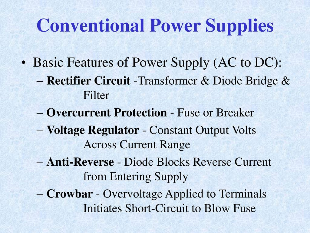 Rectifiers Switches And Power Supplies Ppt Download Simple Dc Regulated Supply With Overcurrent Conventional