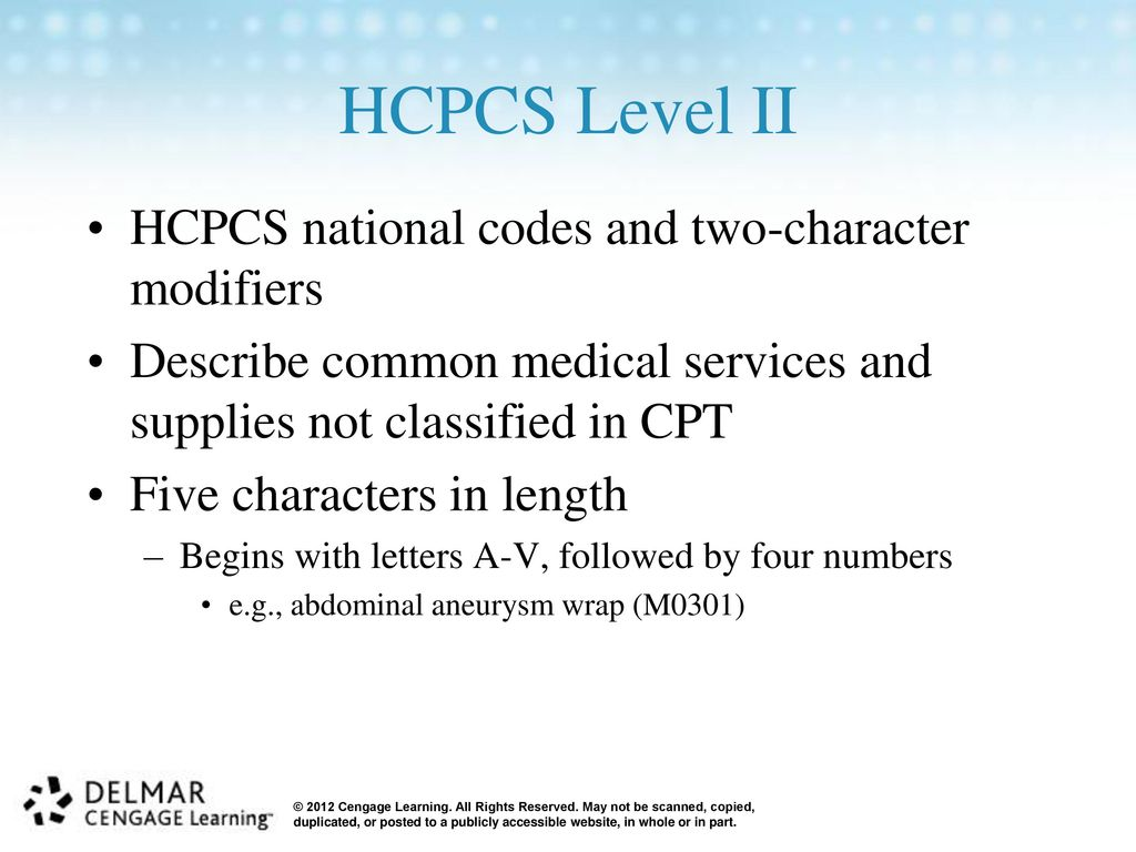 hcpcs level ii codes