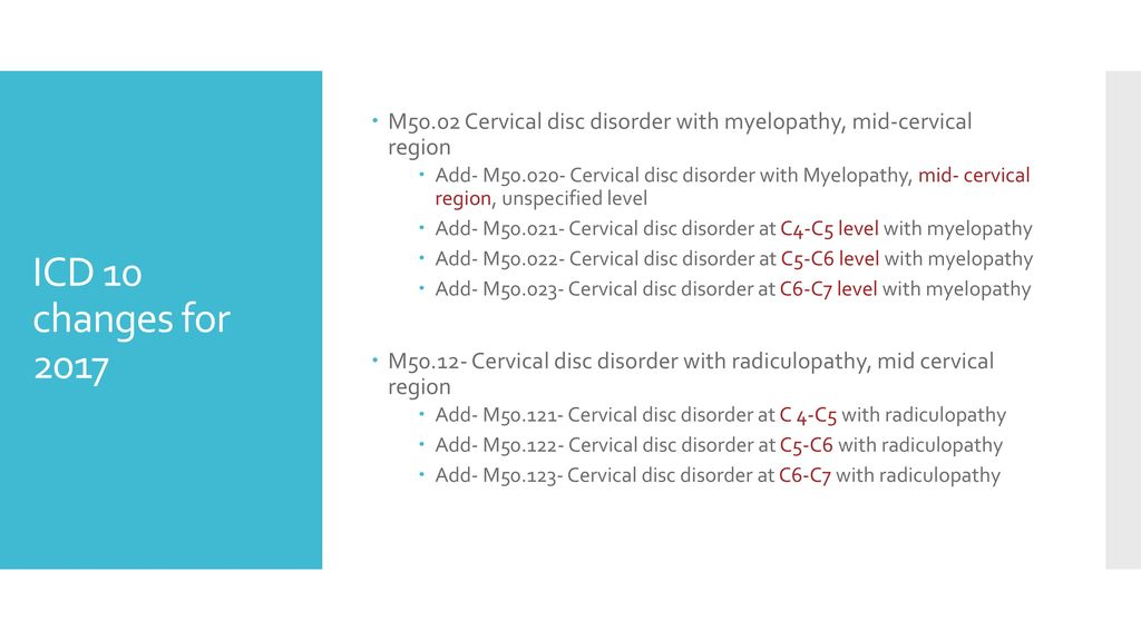 icd 10 code cervical disc herniation without radiculopathy