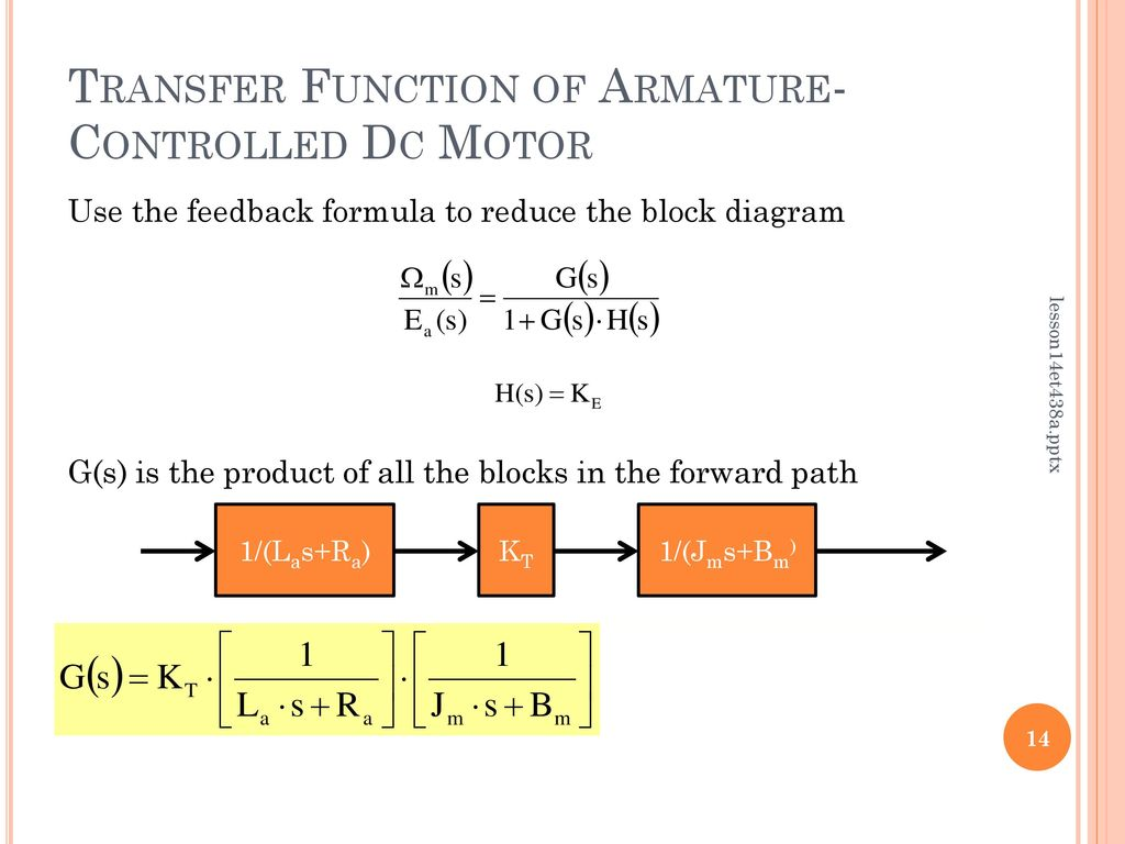 Lesson 14 Transfer Functions Of Dc Motors Ppt Download Block Diagram From Function