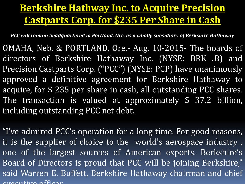 BERKSHIRE HATHAWAY STORY - ppt download