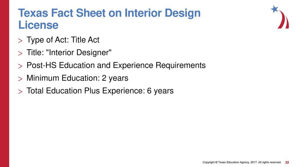 22 Texas Fact Sheet On Interior Design License