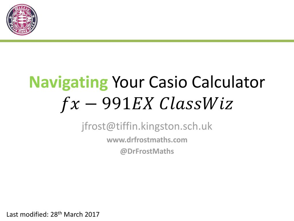 Navigating Your Casio Calculator - ppt download