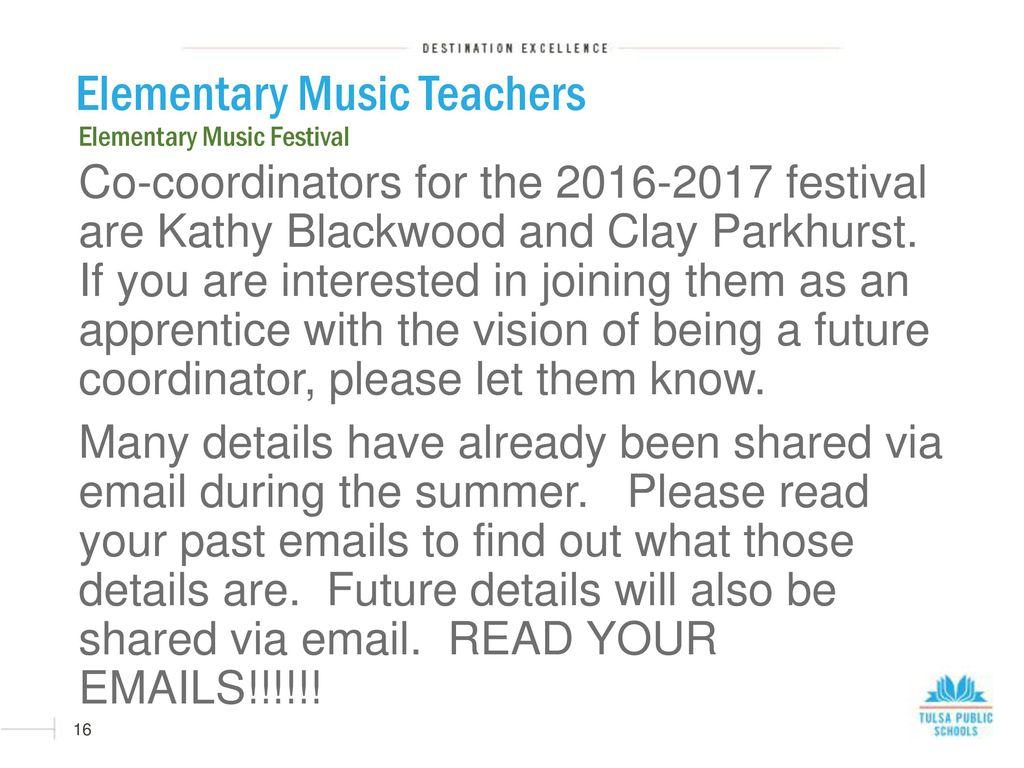 16 Elementary Music Teachers