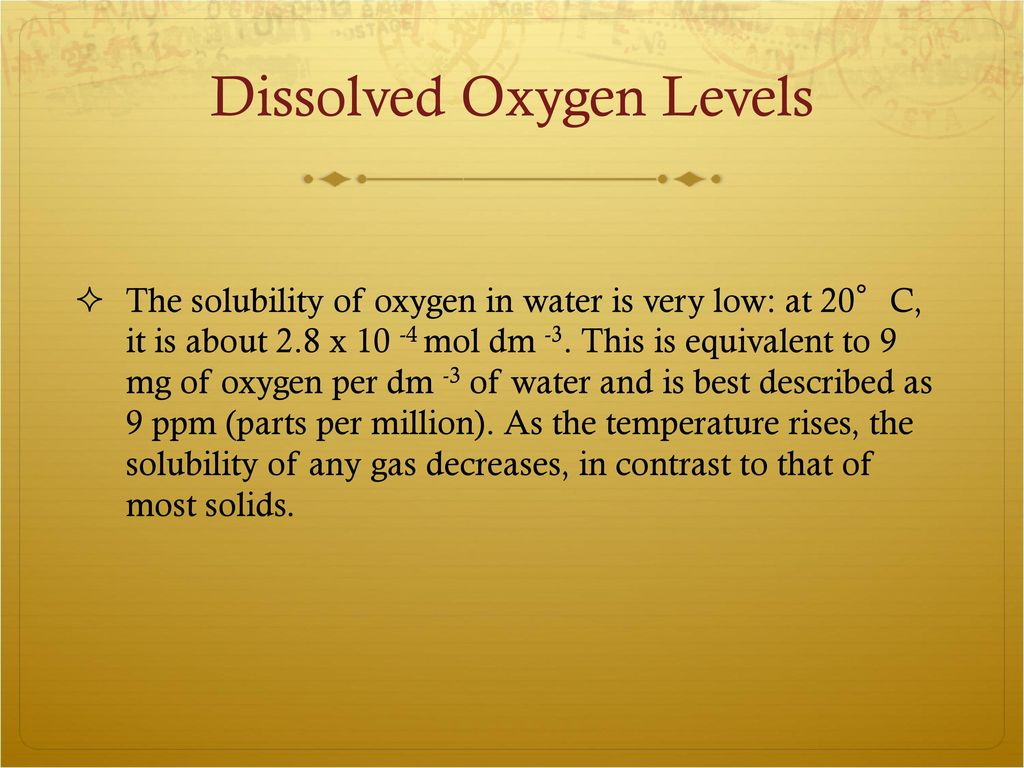 Dissolved Oxygen In Water - ppt download