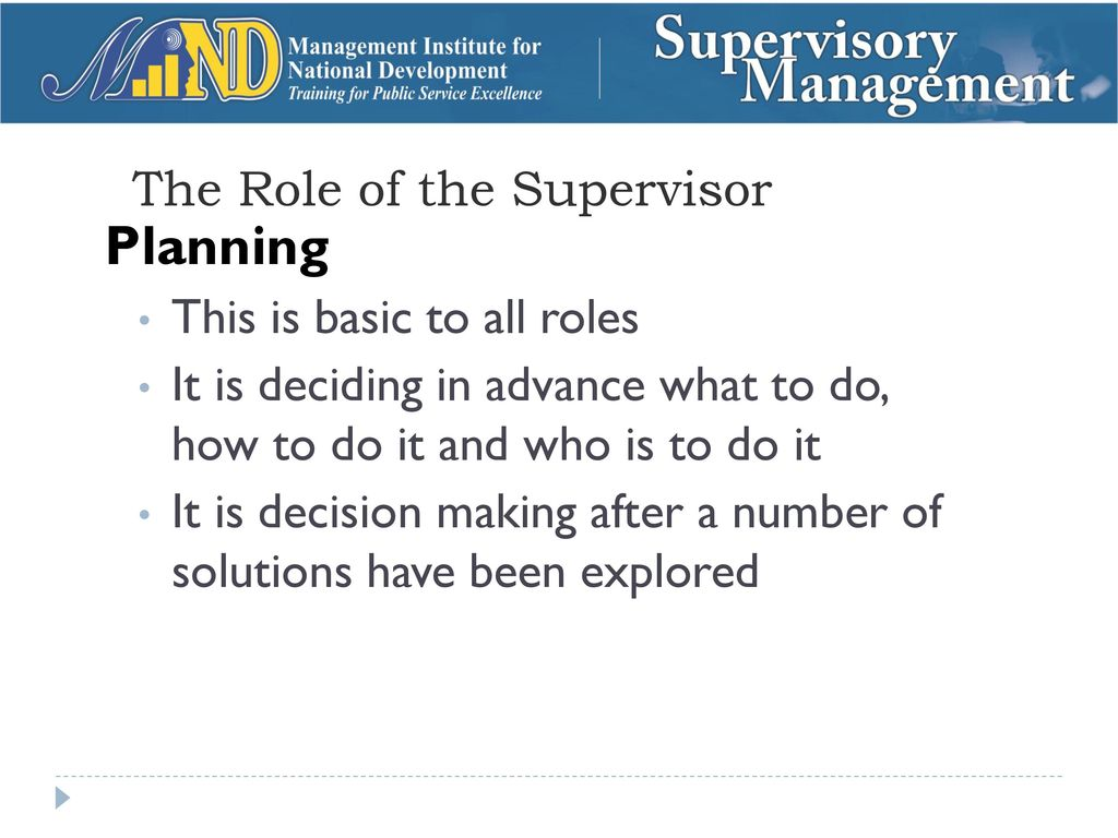 Who is a supervisor