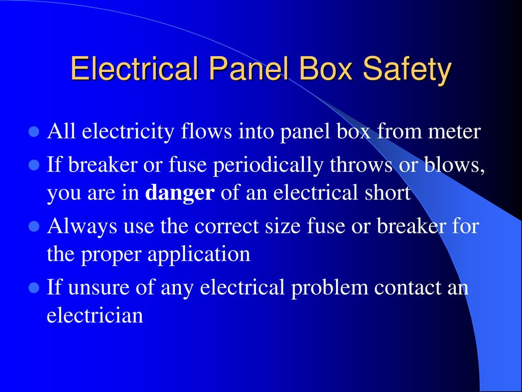 Electrical Safety Around The Home And Farm Ppt Download Fuse Box Panel