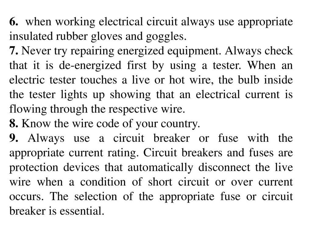 Unit 5 Electrical Safety Wiring Introduction To Power System Ppt Templates Powerpoint Template 6 When Working Circuit Always Use Appropriate Insulated Rubber Gloves And Goggles