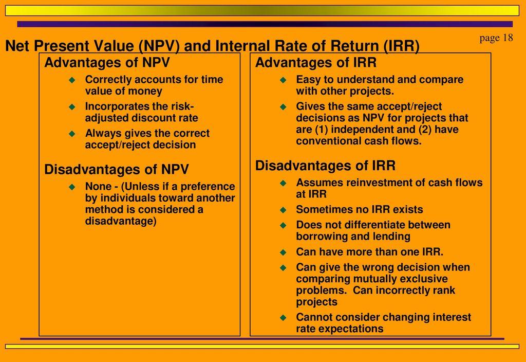 disadvantages of irr