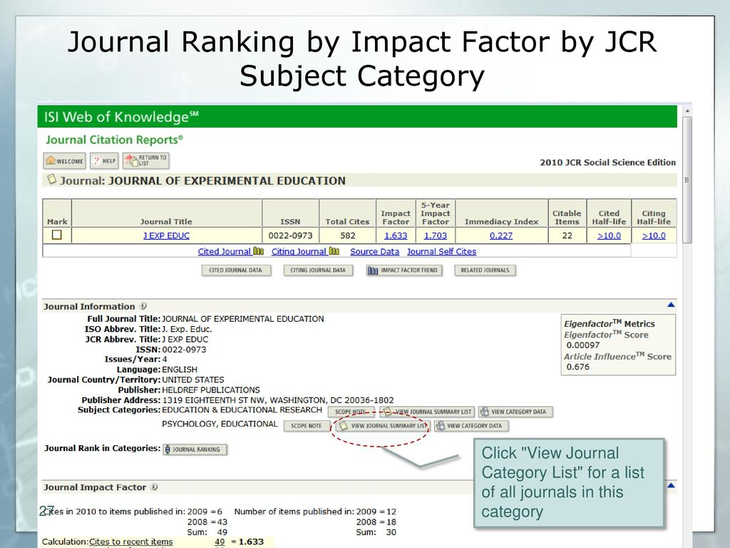 Journal Evaluation and Citation Research Tools - ppt download