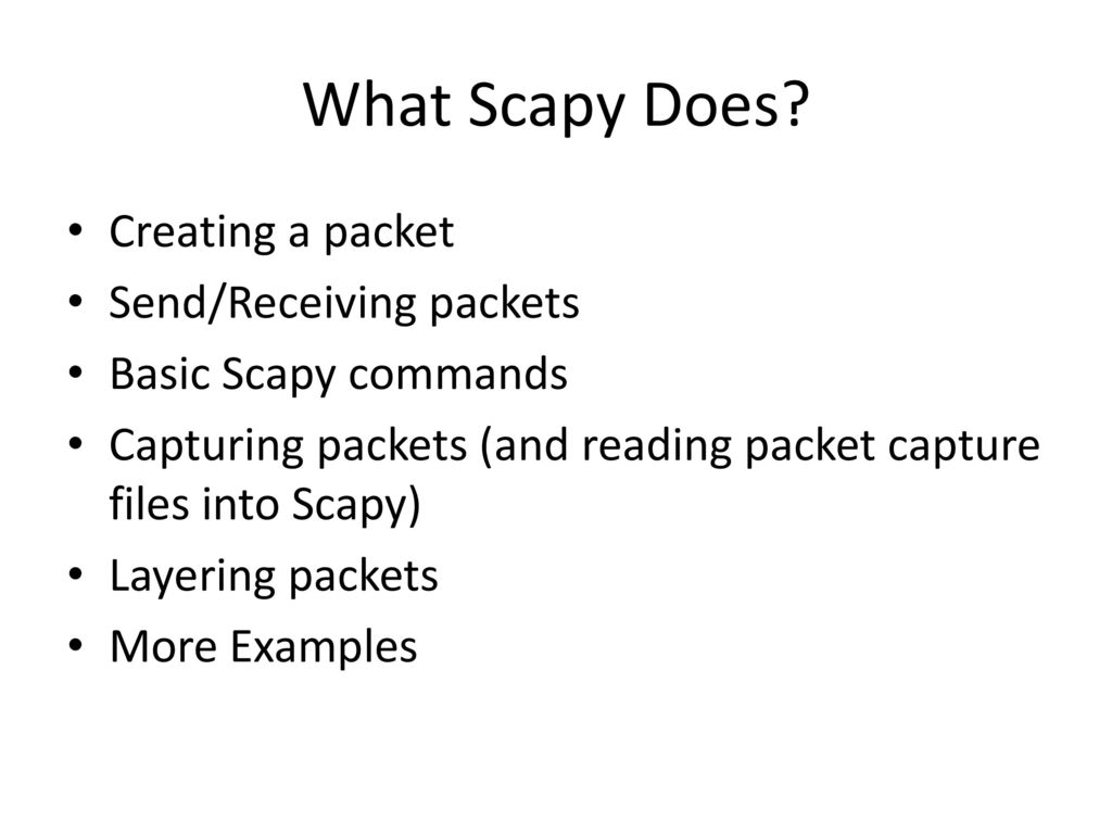 Scapy Packet Manuplation - ppt download