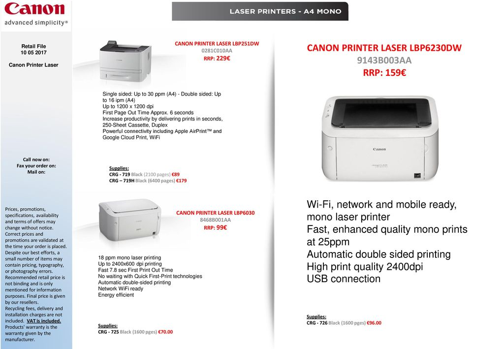 CANON Colour/Mono LASER All-in-One Printers - ppt download