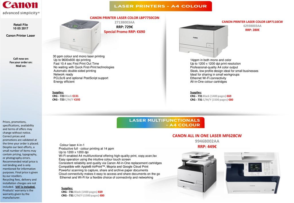 CANON Colour/Mono LASER All-in-One Printers - ppt download