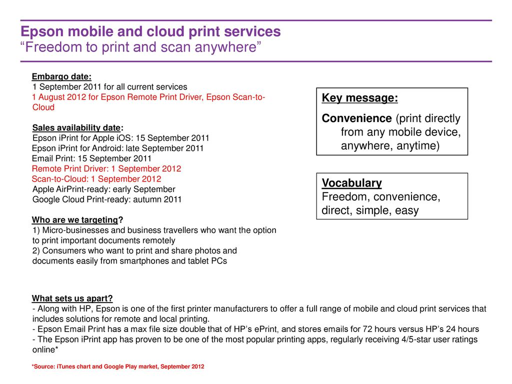 EPSON MOBILE AND CLOUD PRINT SERVICES PROPOSITION FY12