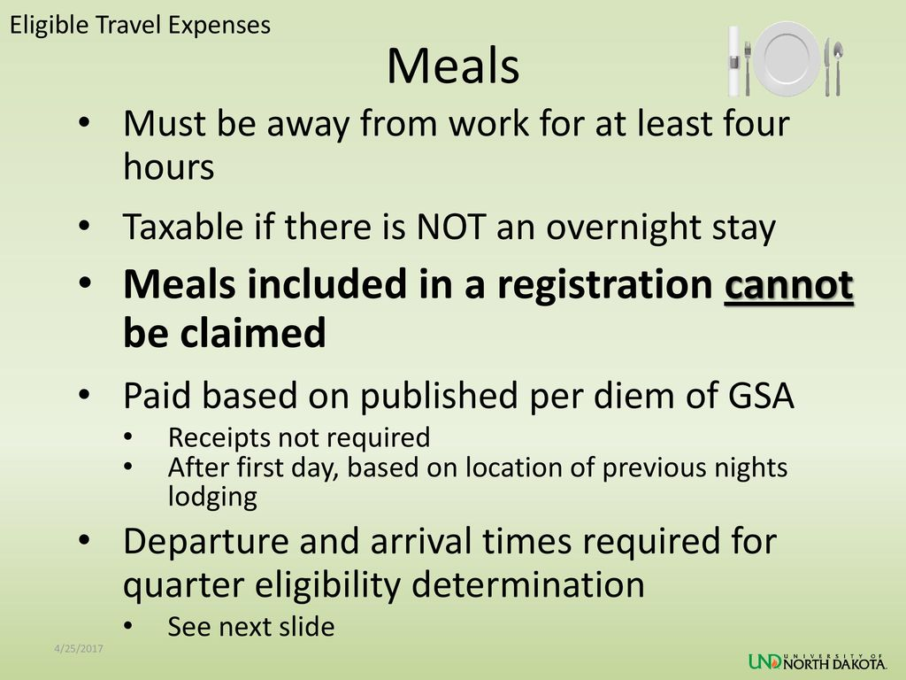Meals Meals included in a registration cannot be claimed