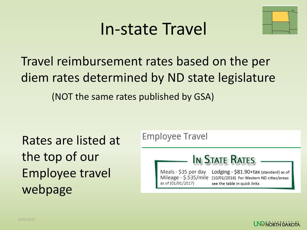 In-state Travel (NOT the same rates published by GSA)