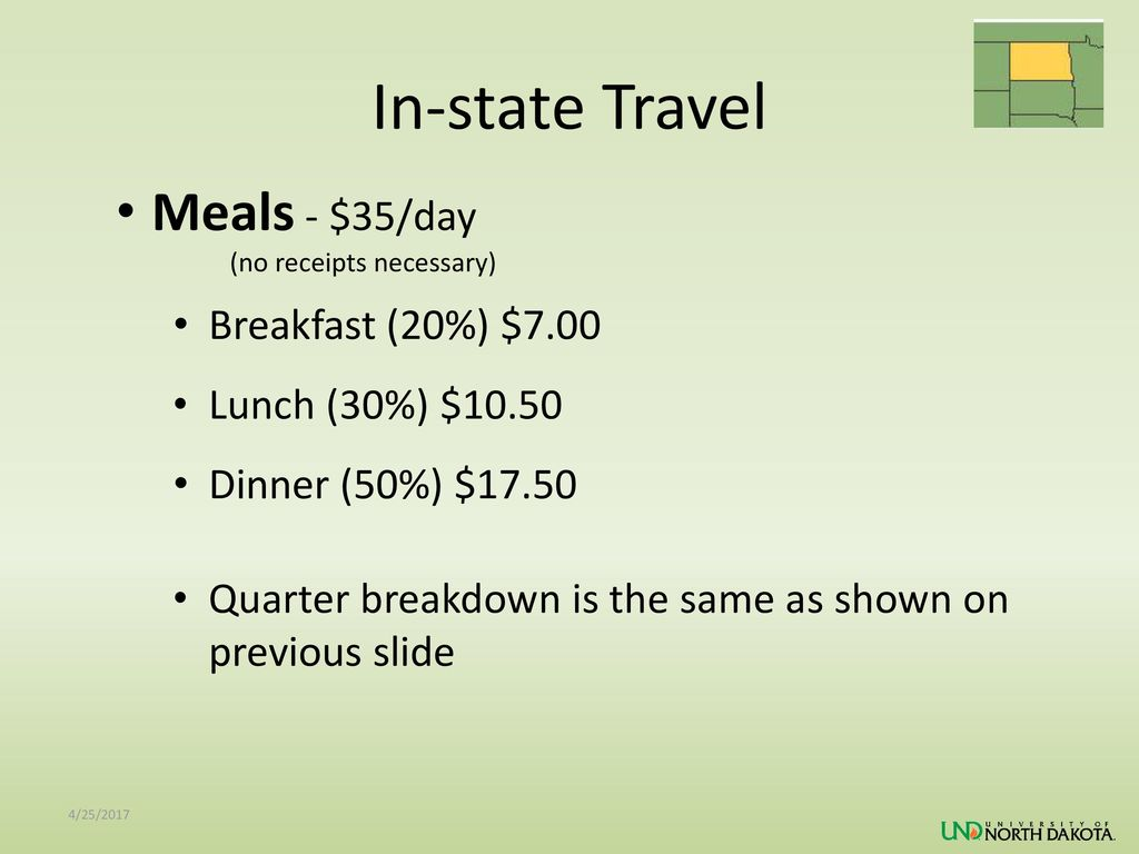 In-state Travel Meals - $35/day Breakfast (20%) $7.00