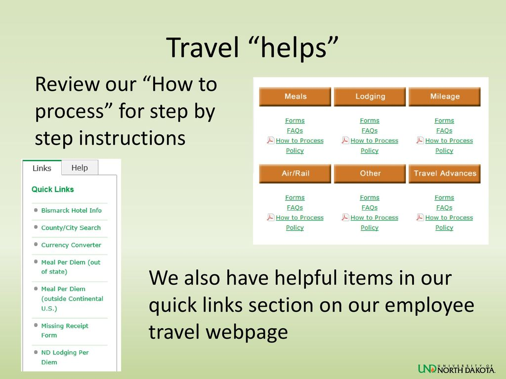 Travel helps Review our How to process for step by step instructions.
