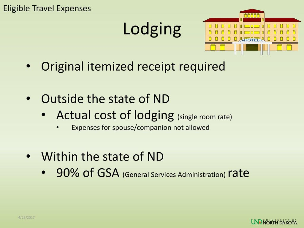 Lodging Original itemized receipt required Outside the state of ND