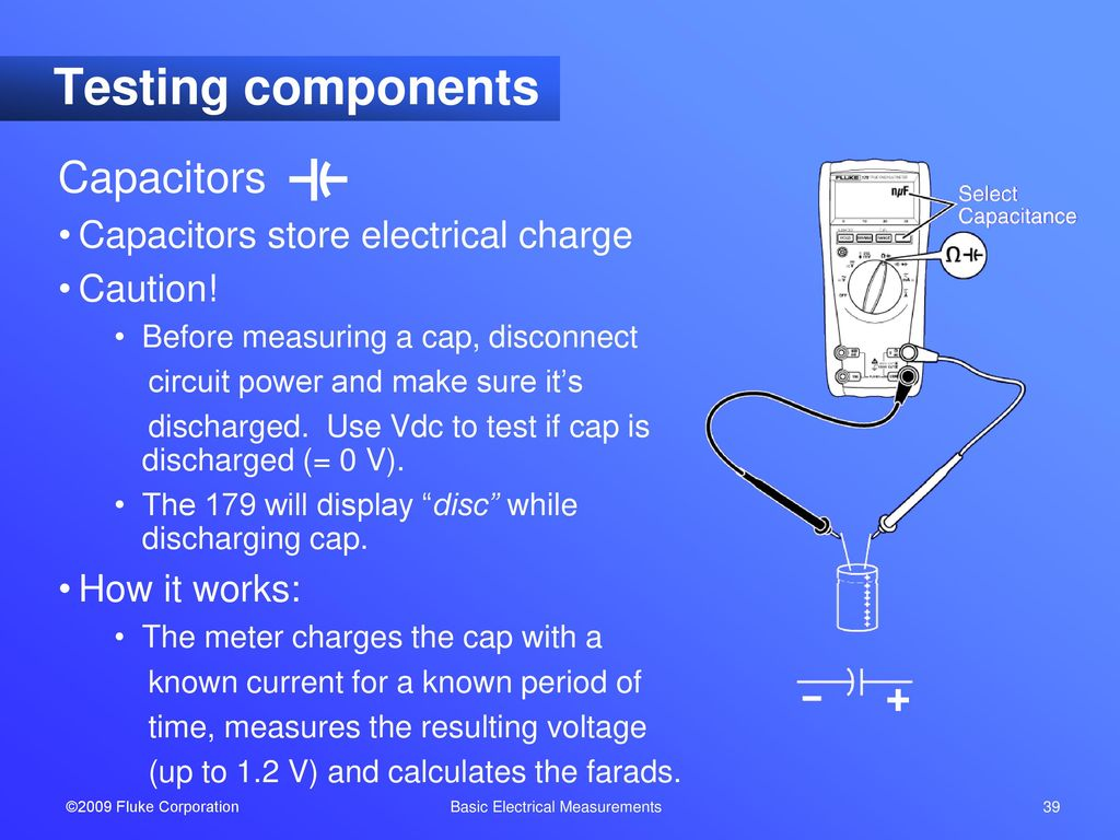 Basic Electrical Measurements Ppt Download Testing Capacitors In Circuit 39 Components