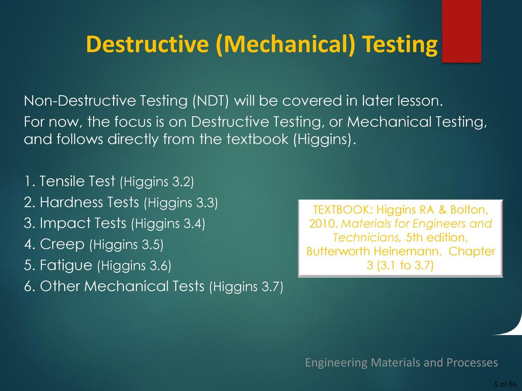 5 Destructive (Mechanical) Testing
