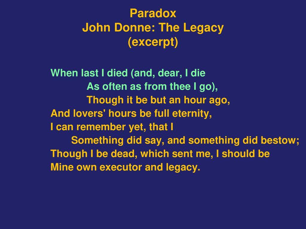 the legacy john donne