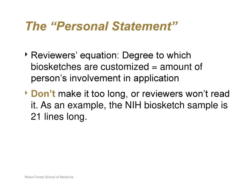 Anatomy of a Biosketch: Updated - ppt download