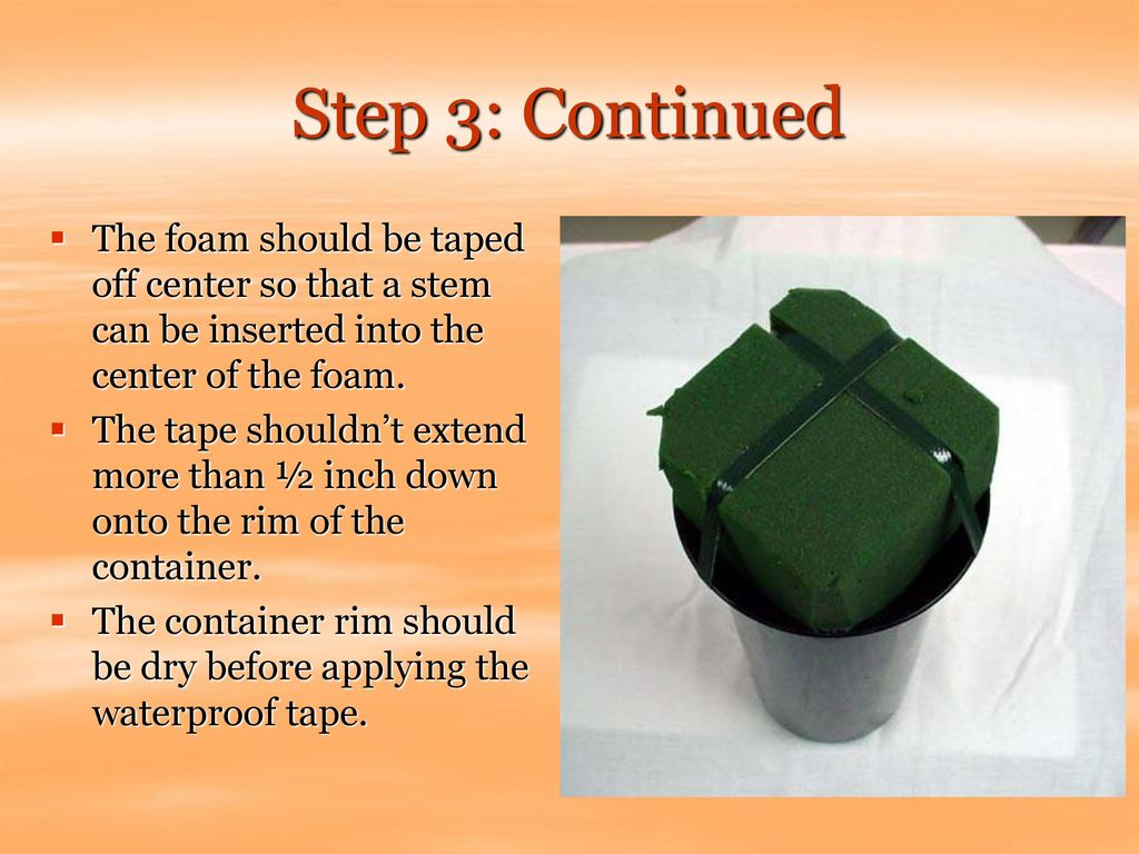 Step 3: Continued The foam should be taped off center so that a stem can be inserted into the center of the foam.