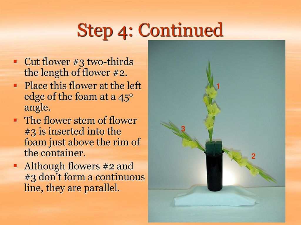 Step 4: Continued Cut flower #3 two-thirds the length of flower #2.