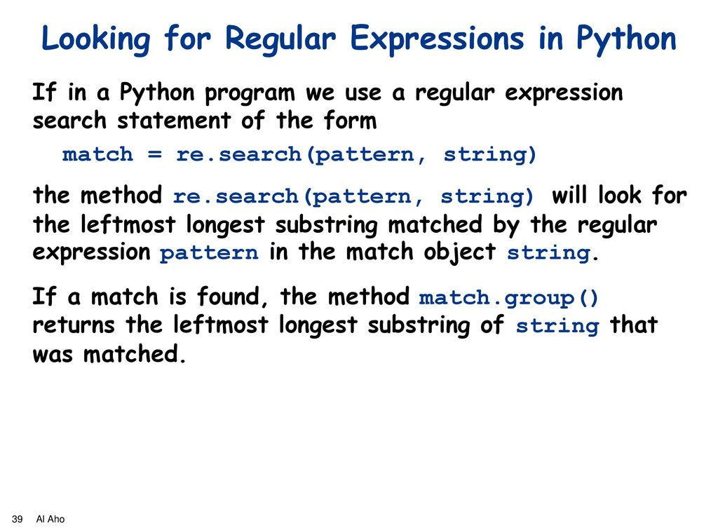 Al Aho Regular Expressions JerseySTEM Math Club March 5, ppt