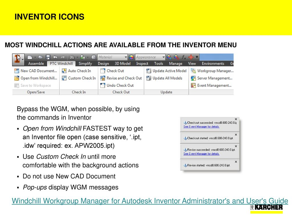 Windchill WorkGroup Manager (WGM) for Inventor installation