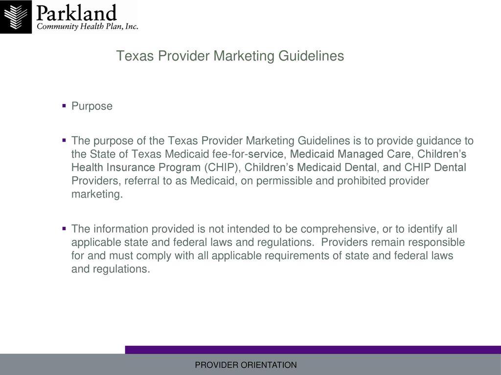 Texas Provider Marketing Guidelines