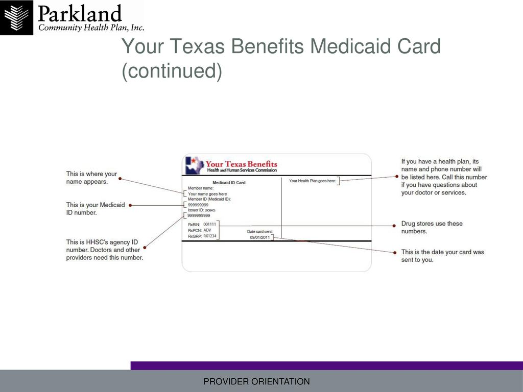 17 Your Texas Benefits Medicaid Card (continued)