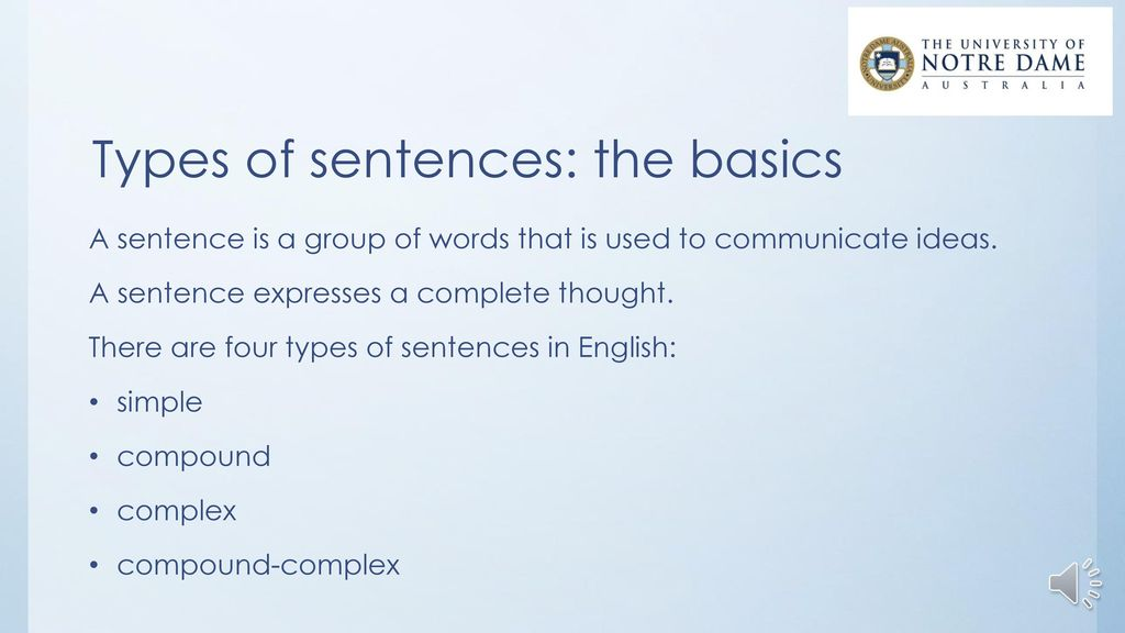 the types of sentences in english