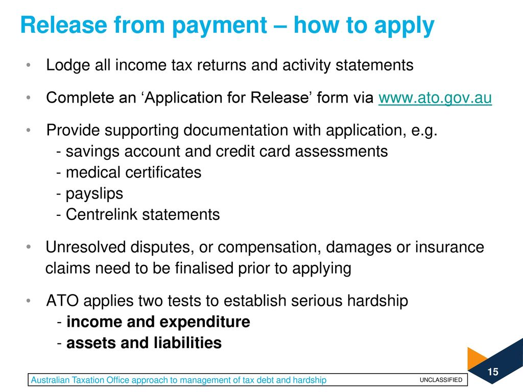 release from payment how to apply