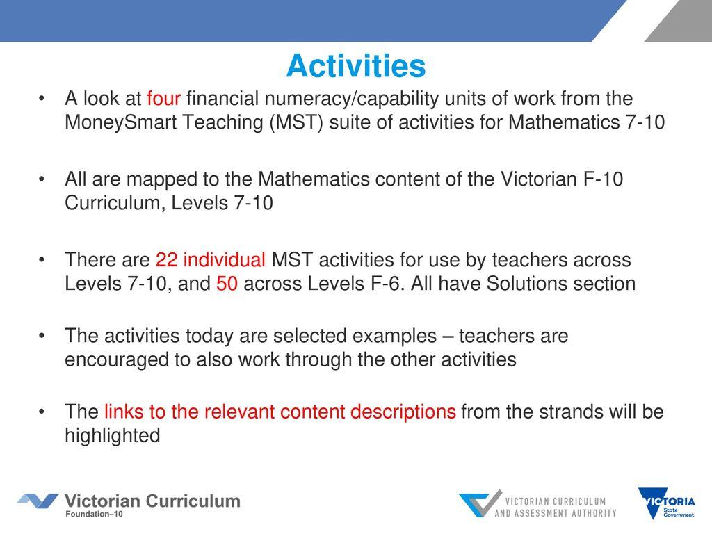 Financial mathematics in the Victorian Curriculum Mathematics ppt ...