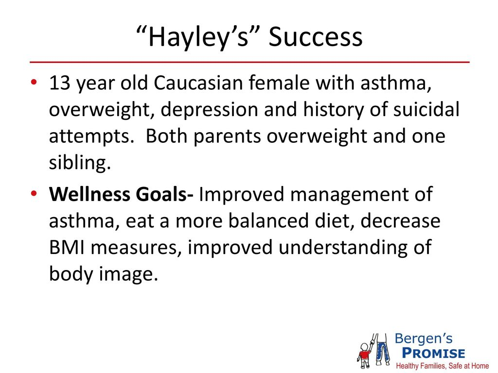 Hayley S Success 13 Year Old Caucasian Female With Asthma Overweight Depression And History Of Suicidal Attempts Both Parents Overweight And One Ppt Download