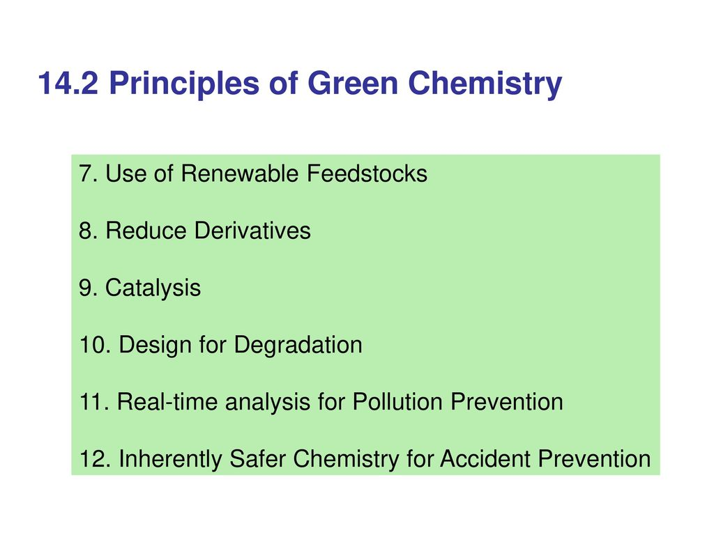 14 Green Chemistry 14 1 Introduction - ppt download