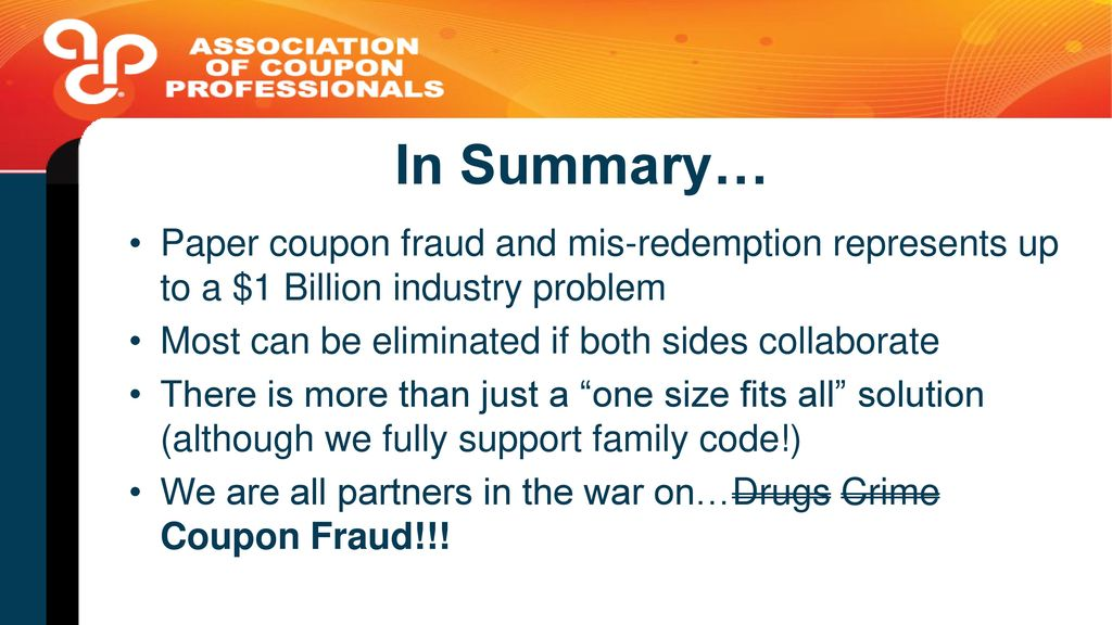 Family codes for retailers ppt video online download paper coupon fraud and mis redemption represents up to a 1 billion fandeluxe Image collections