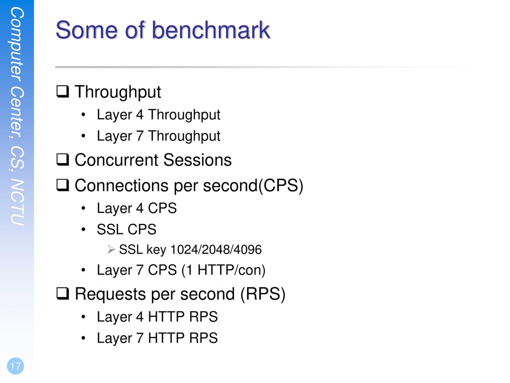 Some of benchmark Throughput Concurrent Sessions