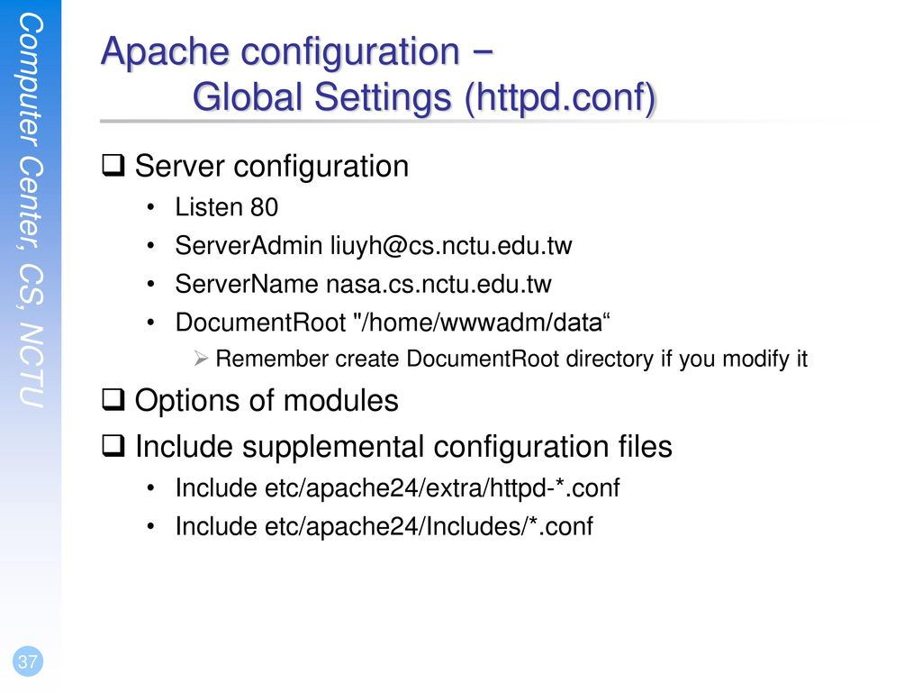 Apache configuration – Global Settings (httpd.conf)